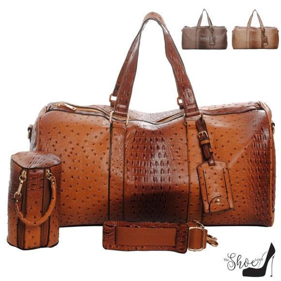 My Bag Lady Online Handbags - Ostrich & Alligator Duffel Bag Set